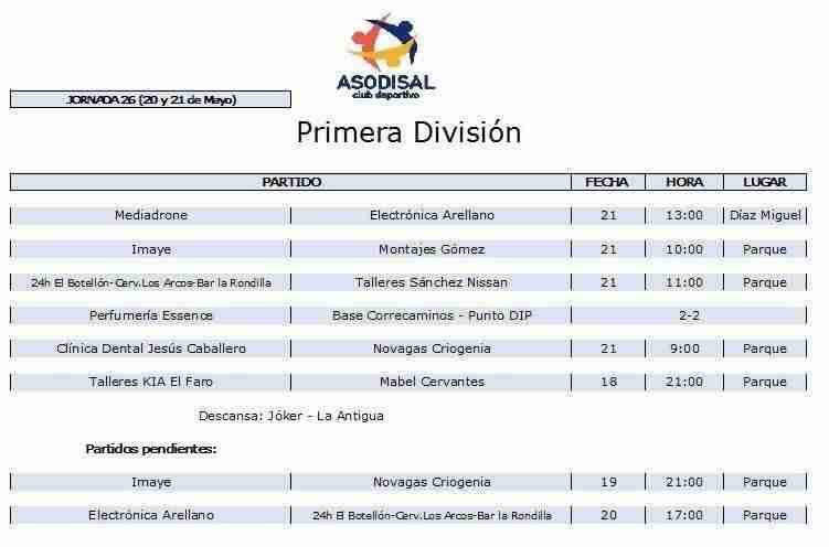 1 division - Disponibles los horarios de distintas competiciones deportivas