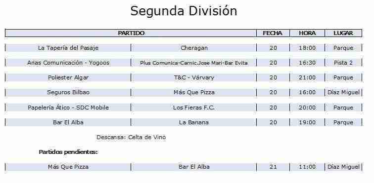 2 division - Disponibles los horarios de distintas competiciones deportivas