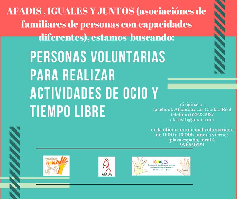 afadis - AFADIS busca personas voluntarias para actividades de ocio y tiempo libre
