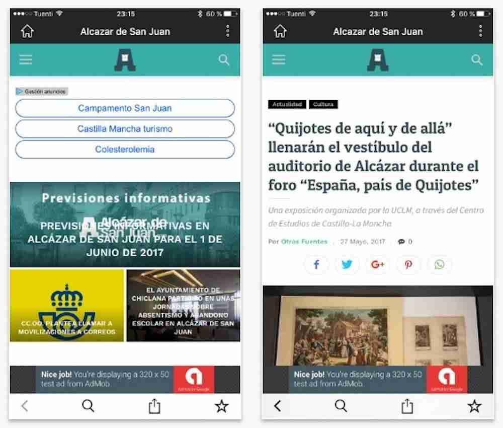 Captura aplicación movil iPhone Alcázar de San Juan