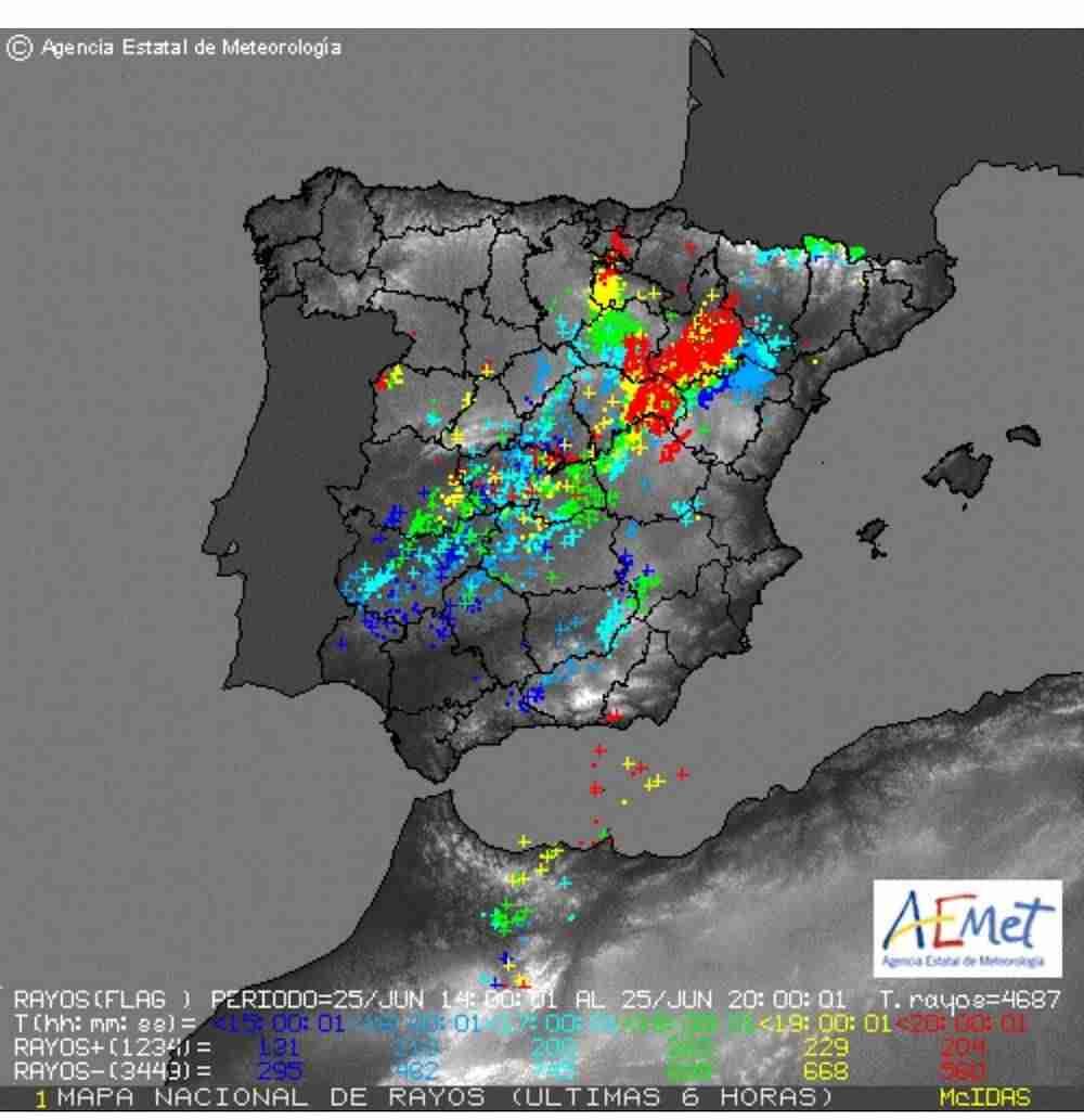 Mapa de tormentas del AEMET