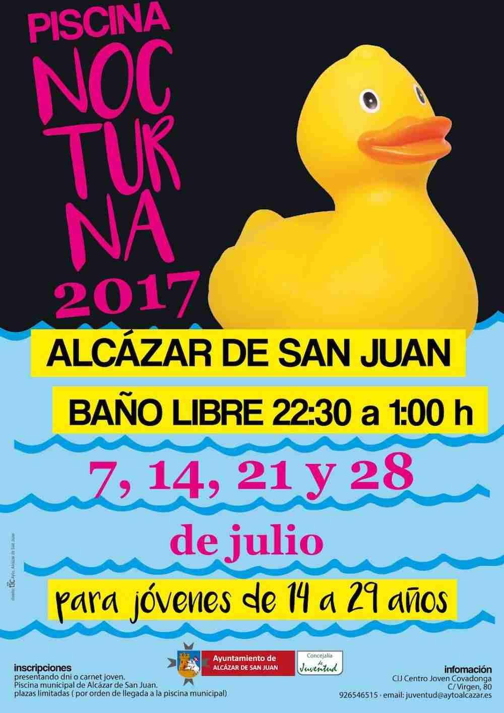Piscina nocturna 2017 con ba o libre y actividades for Piscina alcazar de san juan