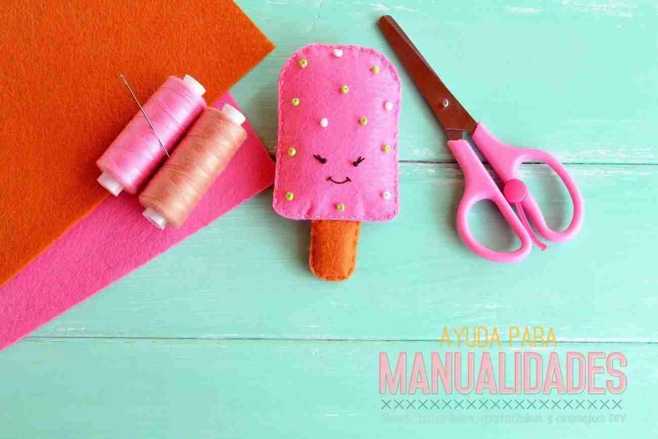 Como hacer una paleta (polo, helado) con fieltro