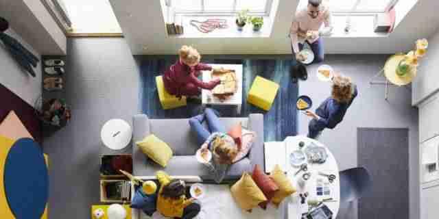 Vista superior Salón con diseño IKEA