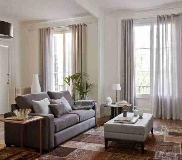 cortinas en el salón neutras