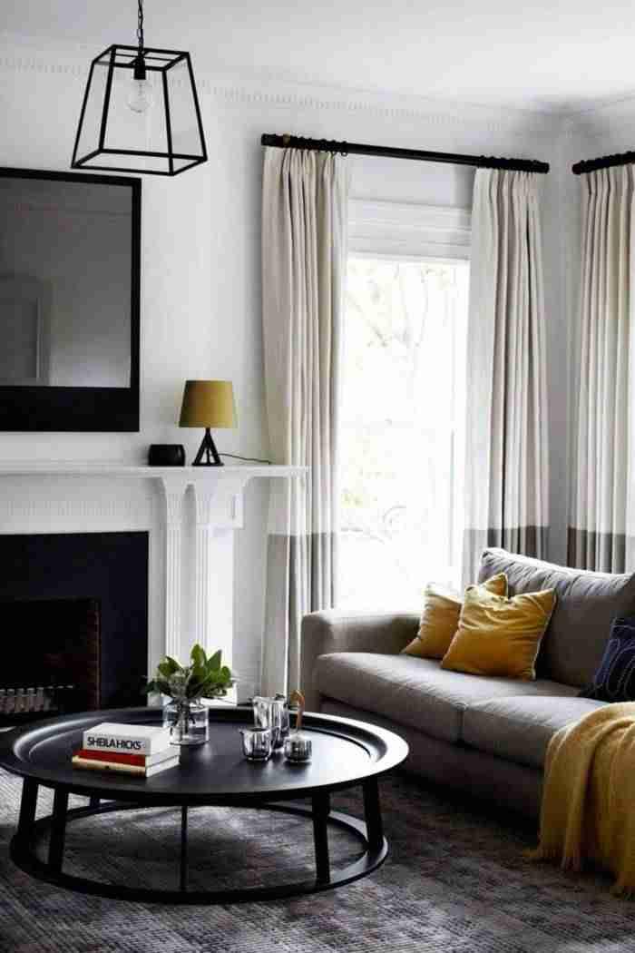 cortinas en el salón - bicolor