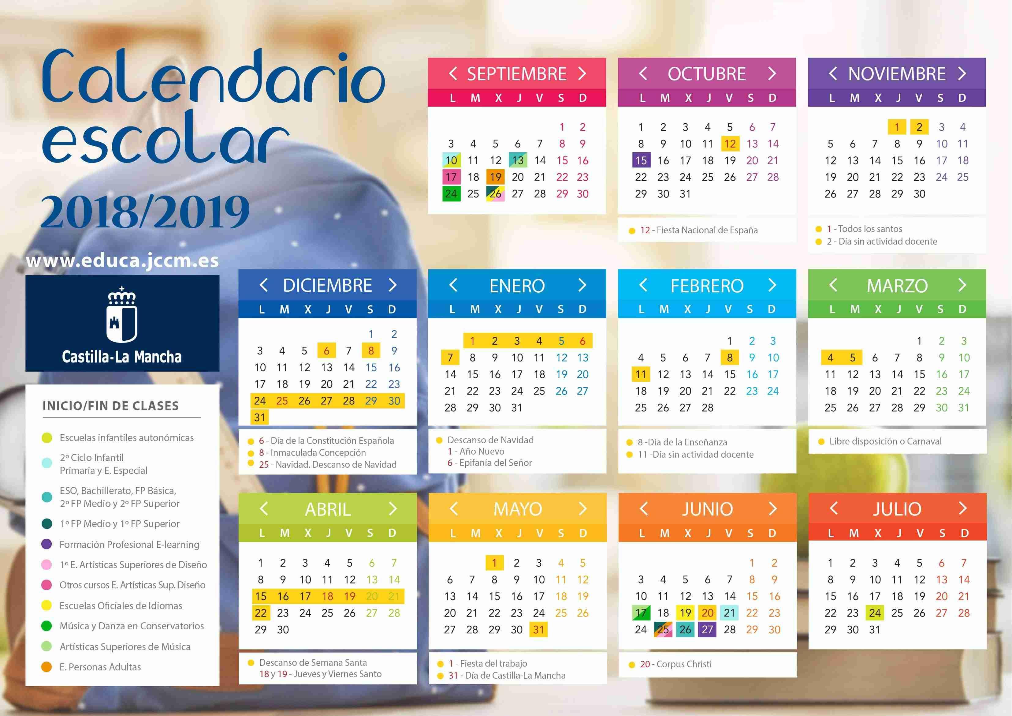 calendario escolar 2018/2019 en Castilla-La Mancha
