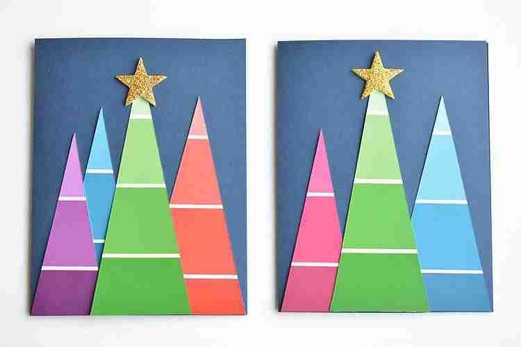 Felicitaciones de Navidad - árboles degradados