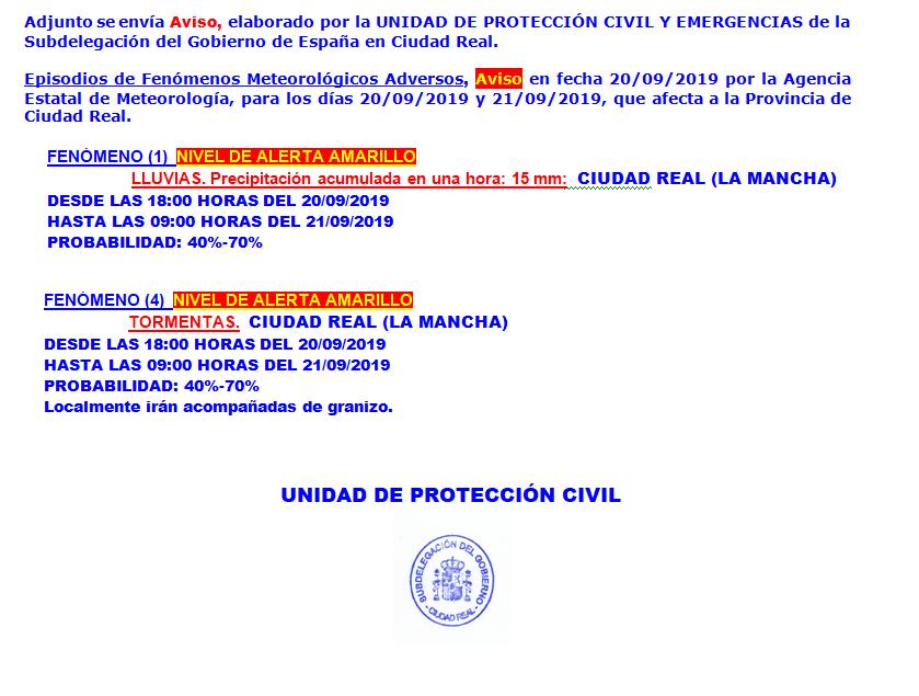 Aviso de alerta amarilla por lluvia y tormentas desde Protección Civil 1