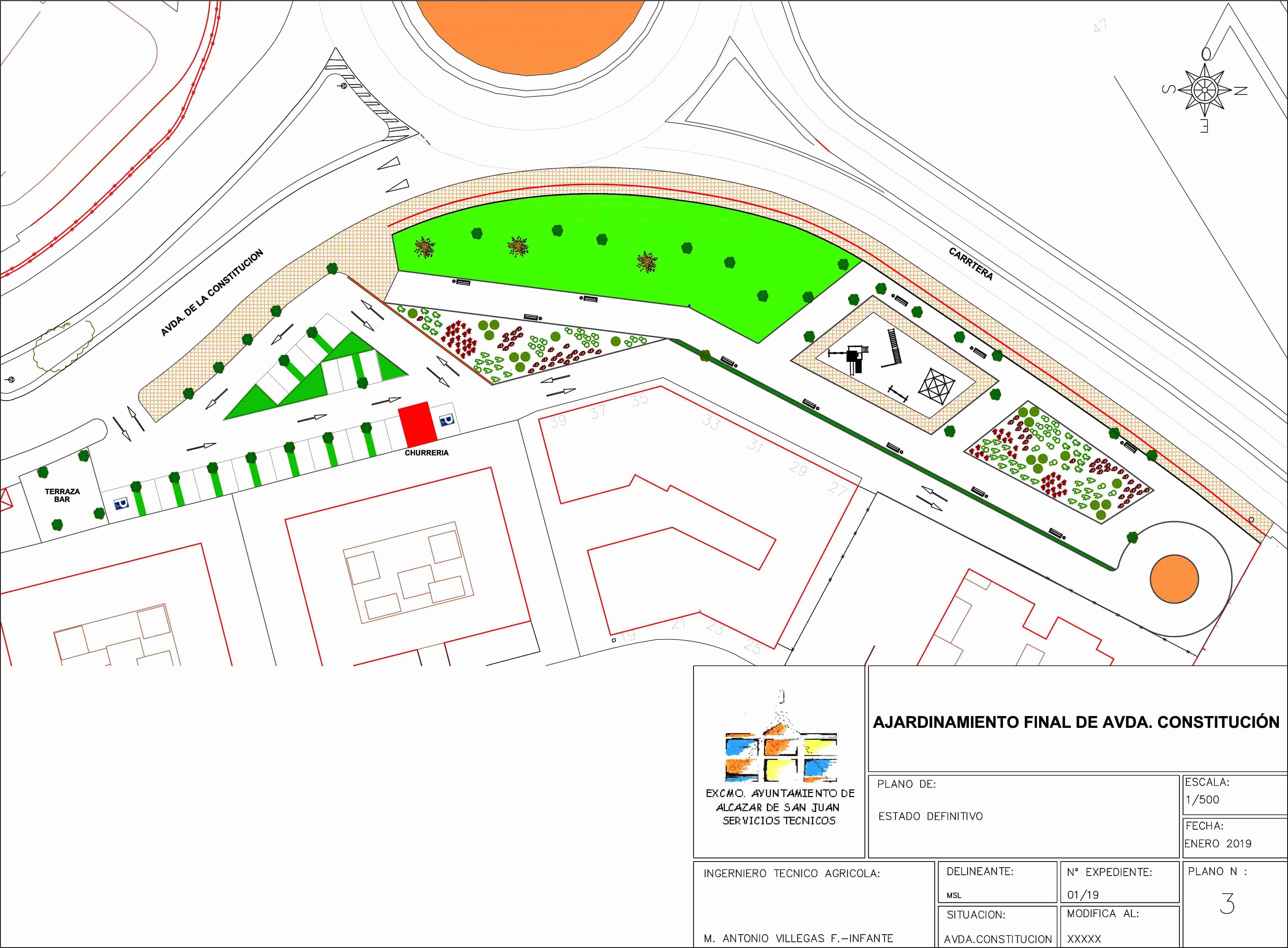 Mostrando el proyecto del nuevo parque lineal que se construirá al final de la Avenida de la Constitución 1