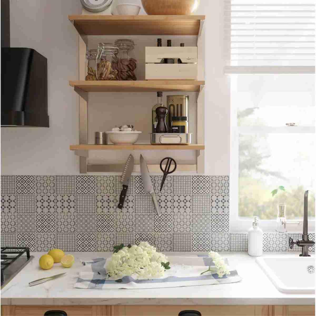 cocina de ikea con elementos de madera