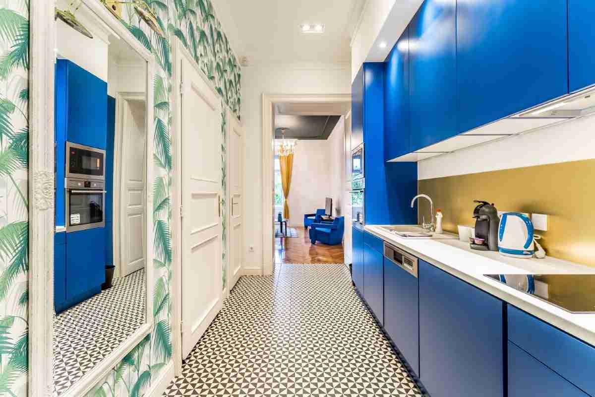 espectacular cocina color azul