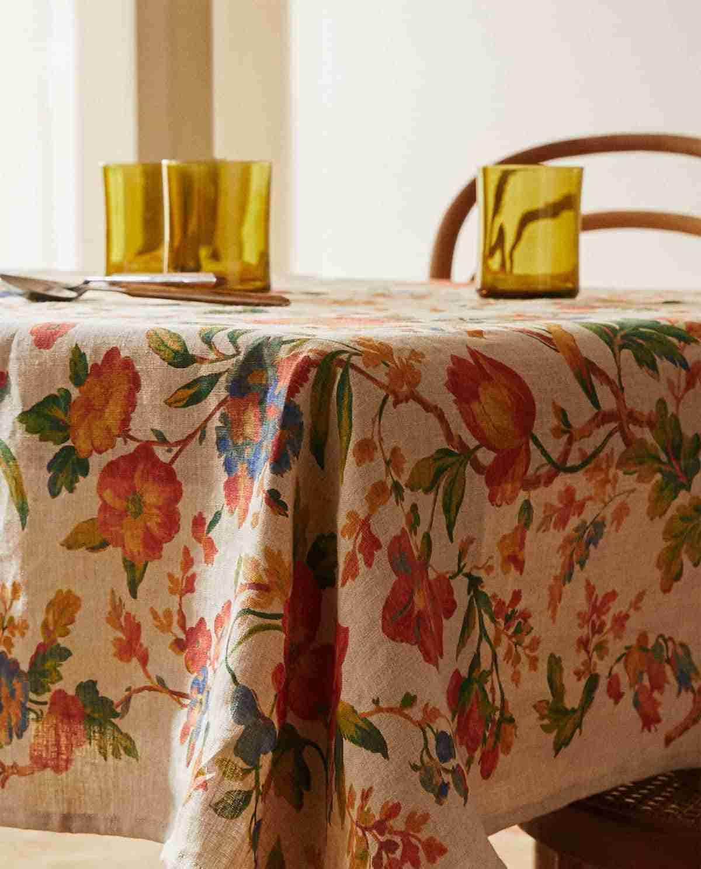mantel de lino estampado floral