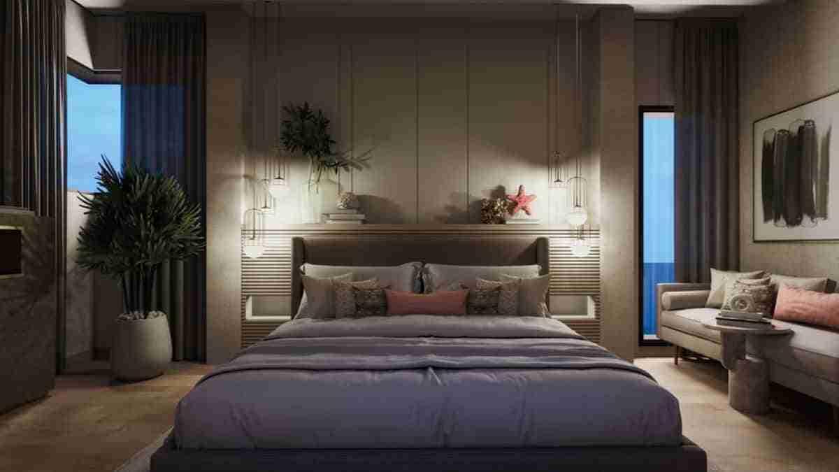 elegante dormitorio con cama al ras del suelo
