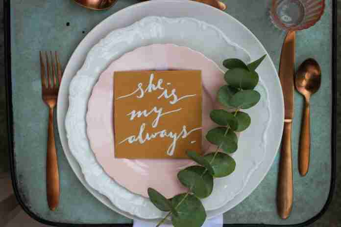 romantica decoracion platos boda