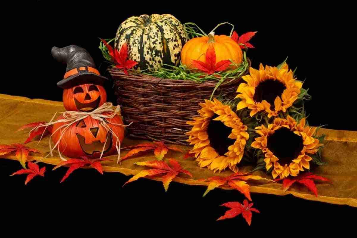 centro de mesa con calabazas halloween