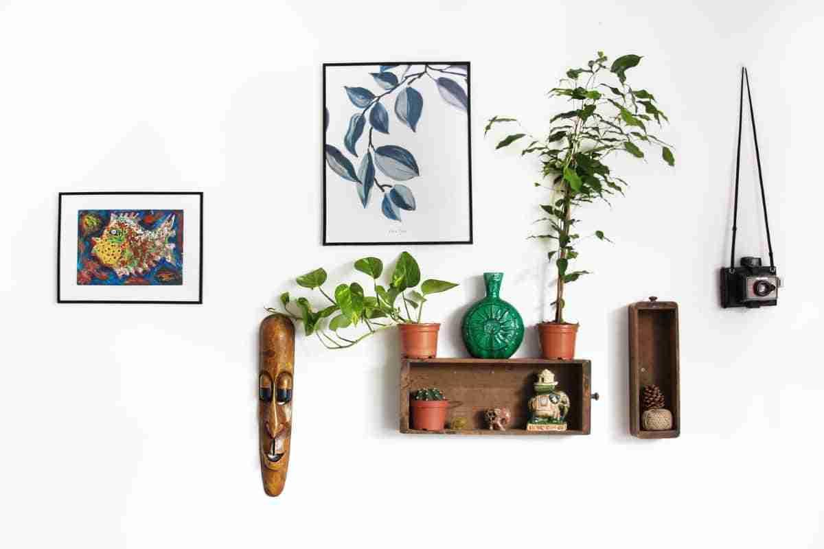 repisas y cuadro con hojas