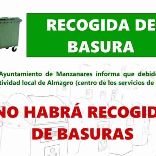 No habrá recogida de basuras la noche del miércoles 4 de agosto al jueves 5 de agosto en Manzanares